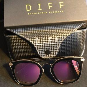 NWT DIFF Eyewear Fashion Sunglasses Black/Pink